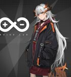 1girl absurdres arknights bangs black_choker black_jacket choker collarbone commentary dragon_girl dragon_horns dragon_tail earrings english_text eyebrows_visible_through_hair feet_out_of_frame grey_background hands_in_pockets head_tilt highres hood hood_down hoodie horns jacket jewelry long_hair long_sleeves looking_at_viewer myomu open_clothes open_jacket orange_eyes parted_lips red_hoodie rhine_lab_logo saria_(arknights) serious silver_hair sleeves_past_wrists solo stud_earrings tail teeth