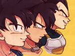3boys armor black_eyes black_hair blue_bodysuit bodysuit broly_(dragon_ball_super) close-up closed_mouth collar collarbone cropped_shoulders dragon_ball dragon_ball_super dragon_ball_super_broly dragon_ball_z expressionless face facing_away from_side frown grin highres lineup looking_afar male_focus metal_collar multiple_boys parted_lips profile simple_background smile son_goku spiky_hair tkgsize vegeta yellow_background
