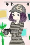 1girl artist_request baseball_cap bob_cut camera doodle girls_mode_2 gradient_hair graphic_shirt grey_eyes grey_shirt hat holding holding_camera multicolored_hair photographer pink_lips purple_hair shirt simple_background smile solo striped striped_shirt style_savvy_(video_game_series) teagen_(style_savvy) two-tone_hair
