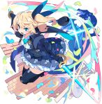 1girl artist_request ascot black_cape black_gloves black_headwear black_jacket black_legwear black_ribbon black_skirt blonde_hair blue_eyes blue_neckwear blush breasts cape collared_jacket collared_shirt cropped_jacket dragon dual_wielding dutch_angle frilled_skirt frills full_body gauntlets glint gloves hair_ribbon happy hat hat_removed headwear_removed highres holding holding_sword holding_weapon jacket light_blush long_hair looking_at_viewer looking_to_the_side miniskirt non-web_source official_art one_side_up open_mouth outdoors outstretched_arms petals pleated_skirt puffy_sleeves ribbon running shiny shiny_hair shirt silty_(world_flipper) skirt small_breasts smile solo_focus sword thigh-highs tied_hair transparent_background two-sided_cape two-sided_fabric v-shaped_eyebrows weapon white_shirt world_flipper zettai_ryouiki