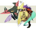 ! 1boy :d aegislash bangs black_footwear boots commentary_request cravat dark-skinned_male dark_skin dragapult facial_hair gen_6_pokemon gen_8_pokemon highres leon_(pokemon) long_hair male_focus morio_(poke_orio) notice_lines open_mouth pants pokemon pokemon_(creature) pokemon_(game) pokemon_swsh purple_hair smile spoken_exclamation_mark standing tailcoat tongue white_neckwear yellow_eyes