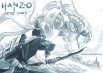 1boy arrow_(projectile) bow bow_(weapon) character_name copyright_name crossover facebook_username genji_(overwatch) glowing glowing_eyes grass greyscale hanzo_(overwatch) hm_(hmongt) holding holding_bow holding_weapon horizon_zero_dawn lens_flare looking_at_another male_focus mecha monochrome outdoors overwatch ponytail quiver solo tree weapon wind