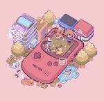 2boys afloat backpack bag bangs baseball_cap black_hair blue_oak boots brown_bag brown_footwear building bulbasaur charmander closed_mouth commentary eevee game_boy_color gen_1_pokemon grass handheld_game_console hat holding holding_poke_ball jacket leaphere long_sleeves lying male_focus mew multiple_boys mythical_pokemon on_back pants pikachu poke_ball poke_ball_(basic) pokemon pokemon_(creature) pokemon_(game) pokemon_center pokemon_rgby purple_shirt red_(pokemon) red_footwear red_headwear shirt shoes short_hair short_sleeves smile sparkle spiky_hair squirtle standing tree water