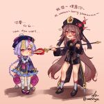 2girls :d absurdly_long_hair amulet anger_vein annoyed bandaged_arm bandaged_leg bandages bangs bead_necklace beads black_footwear black_shorts bow braid brown_hair cape cheek_poking chinese_clothes chinese_text coin_hair_ornament commentary english_commentary english_text eyebrows_visible_through_hair flower full_body genshin_impact hair_between_eyes hair_bow hair_ribbon hat hat_flower hat_ornament highres holding holding_spear holding_weapon hu_tao_(genshin_impact) jewelry jiangshi kneehighs long_hair long_sleeves looking_at_another low_ponytail multiple_girls necklace ofuda open_mouth pink_background poking polearm prank purple_hair qing_guanmao qiqi_(genshin_impact) red_eyes ribbon shorts sidelocks signature simple_background single_braid smile spear staff_of_homa star-shaped_pupils star_(symbol) symbol-shaped_pupils thigh-highs twintails twitter_username very_long_hair violet_eyes weapon white_legwear wide_sleeves xaevlyn yin_yang zettai_ryouiki