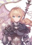 1girl absurdres armor armored_dress bangs blonde_hair blue_eyes braid breasts capelet chain closed_mouth fate/apocrypha fate/grand_order fate_(series) flag fur_trim gauntlets headpiece helmet highres holding jeanne_d'arc_(fate) jeanne_d'arc_(fate)_(all) long_braid long_hair looking_at_viewer medium_breasts saitou_masatsugu scan shiny shiny_hair single_braid solo tied_hair upper_body very_long_hair white_background