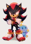1boy 1other black_hair black_skin blue_skin chao_(sonic) colored_skin gloves hankuri hedgehog hungry_clicker looking_at_viewer red_eyes serious shadow_the_hedgehog shoes smile sonic_(series) spiky_hair white_gloves