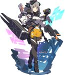 1girl :3 artist_request assault_rifle bangs baretta_(world_flipper) black_footwear black_gloves black_legwear boots breasts camera capelet closed_mouth eyebrows_visible_through_hair full_body gloves green_eyes grey_hair gun happy headgear heel_up heterochromia highres holding holding_gun holding_shield holding_weapon holographic_interface knee_pads long_hair long_sleeves looking_at_viewer medium_breasts miniskirt non-web_source official_art pantyhose pencil_skirt pouch puffy_long_sleeves puffy_sleeves rifle see-through shield shiny shiny_hair shirt sidelocks skirt smile soldier solo standing thigh_pouch thigh_strap transparent_background trigger_discipline v-shaped_eyebrows weapon weapon_on_back weapon_rack white_shirt world_flipper yellow_eyes yellow_skirt