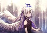1girl absurdres amane_kanata angel angel_wings black_dress blue_hair blurry bokeh colored_inner_hair depth_of_field dress feathered_wings from_side gradient gradient_wings halo highres hololive looking_at_viewer multicolored multicolored_hair multicolored_wings off-shoulder_dress off_shoulder official_alternate_costume parted_lips pikao silver_hair solo star_halo two_side_up upper_body violet_eyes virtual_youtuber white_wings wings