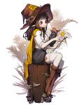 1girl bangs bird black_hair blush boots brown_eyes brown_footwear brown_headwear frilled_shirt frills full_body hat highres long_hair male_focus mushroom original outline pointy_ears rinotuna shirt shirt_tucked_in sitting smile solo stick thigh-highs white_legwear white_outline white_shirt witch_hat
