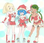 3girls :d ;d absurdres alternate_costume bangs belt belt_buckle blue_eyes blue_hair blush boots bracelet buckle christmas closed_mouth collarbone commentary_request detached_sleeves disconnected_mouth dress eyelashes flower gloves green_eyes green_hair hair_flower hair_ornament hairband hand_up hat highres holding holding_sack jewelry knees lana_(pokemon) lillie_(pokemon) long_hair looking_at_viewer mallow_(pokemon) midriff multiple_girls nagitaro navel no_sclera off-shoulder_dress off_shoulder one_eye_closed open_mouth pigeon-toed pink_flower pokemon pokemon_(game) pokemon_sm red_dress red_footwear red_gloves red_headwear red_shorts sack santa_hat short_hair shorts smile standing swept_bangs toeless_footwear tongue twintails two-tone_footwear upper_teeth white_footwear x_hair_ornament yellow_hairband
