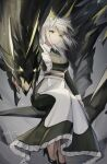 1girl 1other absurdres alternate_costume animal_ear_fluff arknights belt breasts chinese_commentary commentary dated dress ewig extra_ears full_body green_dress green_eyes green_footwear green_hair hairband high_heels highres kal'tsit_(arknights) large_breasts looking_at_viewer lynx_ears maid mon3tr_(arknights) monster sitting