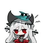 1girl aqua_headwear arknights ascot banbon bangs bare_shoulders black_neckwear detached_sleeves dress english_commentary hair_ornament hat long_hair long_sleeves looking_at_viewer lowres portrait red_dress red_eyes silver_hair simple_background skadi_(arknights) skadi_the_corrupting_heart_(arknights) solo tearing_up very_long_hair white_background