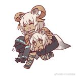 !? 1other 2girls :d animal_ears arknights bag beeswax_(arknights) black_coat black_gloves black_skirt blush brown_eyes carnelian_(arknights) carrying_under_arm chinese_commentary closed_eyes coat collar commentary_request dark-skinned_female dark_skin doctor_(arknights) dress gloves goat_ears goat_girl goat_horns hair_between_eyes hooded_coat horns hug kaleka looking_at_viewer medium_hair multiple_girls open_clothes open_mouth red_eyes shirt short_hair siblings simple_background sisters skirt smile upper_body weibo_username white_background white_dress white_hair white_shirt