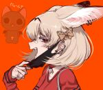 1girl alternate_costume animal_ear_fluff animal_ears bandaid bandaid_on_nose bangs black_eyes blonde_hair bow choker ear_piercing extra_ears fangs from_side hair_between_eyes hair_bow heart heart_choker highres jewelry kemono_friends long_sleeves looking_at_viewer mask mask_pull mouth_mask notora open_mouth orange_background piercing portrait red_choker ring serval_(kemono_friends) serval_ears short_hair simple_background solo teeth vampire_(vocaloid)