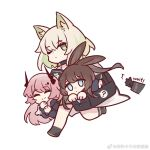 1other 3girls ? amiya_(arknights) animal_ears arknights bag black_footwear black_gloves black_jacket blue_eyes brown_hair carrying_under_arm chinese_commentary choker closed_eyes commentary_request demon_horns doctor_(arknights) dress gloves holding holding_bag horns jacket kal'tsit_(arknights) kaleka long_hair looking_at_viewer lynx_ears multiple_girls one_eye_closed out_of_frame pink_hair rabbit_ears shirt smile theresa_(arknights) very_long_hair weibo_username
