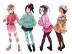 4girls alternate_height baggy_clothes bangs baseball_cap beanie black_footwear black_hair blonde_hair bob_cut boots breasts brown_hair cake_hat candlehead candy candy_hair_ornament child crumbelina_di_carmello disney double_bun dress eating food food-themed_hair_ornament from_behind gloves gold_jacket green_hair green_hoodie hair_ornament hands_in_pockets hat highres hood hoodie jacket licorice_(food) lollipop looking_at_another low_twintails miniskirt multiple_girls pantyhose pink_dress pink_footwear pink_jacket pleated_skirt polka_dot polka_dot_legwear ponytail removing_jacket shinoharatotsuki shirt short_hair skirt smile stitches straight_hair strawberry_hat striped striped_legwear striped_shirt taffyta_muttonfudge twintails vanellope_von_schweetz wreck-it_ralph