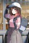 1girl :3 absurdres alternate_costume android backpack bag bangs baseball_cap brown_hair dip-dyed_hair english_commentary eyebrows_visible_through_hair from_side grey_bag grey_skirt hat highres hololive looking_at_viewer mechanical_arms nonbire pink_hair pink_shirt roboco-san shirt shirt_tucked_in skirt smile solo unfinished virtual_youtuber white_headwear window yellow_eyes