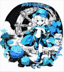 1girl absurdres acrylic_paint_(medium) bag bangs black_sky blue_bag blue_dress blue_eyes blue_flower blue_footwear blue_headwear blue_sleeves bush dress eyebrows_visible_through_hair flower gloves hat highres kawashiro_nitori lake leaf looking_at_viewer open_mouth rain rock short_hair short_sleeves short_twintails sitting smile solo torajirou_(toraneko_zirou) touhou traditional_media twintails water white_gloves white_hair