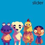 4boys album_cover album_cover_redraw alligator anchovy_(animal_crossing) animal_crossing arms_behind_back artist_name beige_shirt bird blue_background blue_shirt bottomless brian_bell brian_bell_(cosplay) chicken collared_shirt commentary cosplay cover crocodilian del_(animal_crossing) derivative_work dog egbert_(animal_crossing) english_text feet_out_of_frame hands_together highres itsdoggybag k.k._slider_(animal_crossing) long_sleeves looking_at_viewer matt_sharp matt_sharp_(cosplay) md5_mismatch multicolored_shirt multiple_boys nude parody patrick_wilson patrick_wilson_(cosplay) red_shirt rivers_cuomo rivers_cuomo_(cosplay) rooster shirt short_sleeves sleeve_cuffs smile standing staring striped striped_shirt the_blue_album thick_eyebrows vertical-striped_shirt vertical_stripes weezer