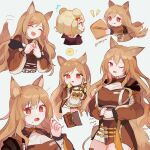 2girls :d :q absurdres animal_ears apron arknights artist_name bear_ears bear_girl blonde_hair boots breasts brown_dress brown_footwear brown_hair ceobe_(arknights) chibi closed_eyes dog_ears dog_girl dress duplicate fang food food_on_face gloves gummy_(arknights) highres holding holding_cookie holding_spoon hungry infection_monitor_(arknights) large_breasts long_hair multiple_girls multiple_persona multiple_views one_eye_closed open_mouth pixel-perfect_duplicate red_eyes rippajun skin_fang smile spoon staff thigh-highs thigh_boots thighs tongue tongue_out white_background yellow_apron yellow_gloves