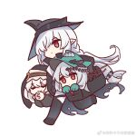 3girls arknights bag bare_shoulders black_coat black_dress black_footwear black_gloves black_headwear boots braid carrying_under_arm chibi chinese_commentary closed_eyes clothing_cutout coat commentary_request dress elbow_gloves eyebrows_visible_through_hair eyes_visible_through_hair full_body gladiia_(arknights) gloves hair_between_eyes hair_over_one_eye hands_clasped hands_together hat holding holding_bag kaleka long_hair long_sleeves looking_at_viewer low-tied_long_hair multiple_girls navel_cutout own_hands_together pants pointy_ears praying red_dress red_eyes silver_hair skadi_(arknights) skadi_the_corrupting_heart_(arknights) smile specter_(arknights) sword thigh-highs thigh_boots weapon weibo_username white_pants