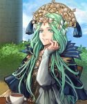1girl bangs blue_capelet capelet chair clouds commentary crown cup day dress english_commentary fingernails fire_emblem fire_emblem:_fuukasetsugetsu fire_emblem:_three_houses fire_emblem_16 flower forehead goddess green_eyes green_hair hair_flower hair_ornament hand_on_own_face intelligent_systems jewelry jin_(phoenixpear) lips long_hair long_sleeves looking_at_viewer nintendo outdoors parted_bangs parted_lips pink_lips plant rhea_(fire_emblem) sitting sky smile solo table teacup teeth tiara very_long_hair white_dress white_flower