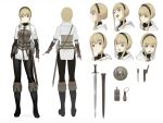 1girl :d arms_at_sides belt belt_pouch blonde_hair boots brown_gloves buckler character_sheet commentary_request cross-laced_clothes dagger expressions facing_away fantasy fingerless_gloves flat_color from_behind from_side full_body gloves grey_eyes hairband highres km_yama knife long_bangs looking_at_viewer medieval open_mouth original pouch sheath sheathed shield smile solo standing surprised sword upper_teeth weapon white_background