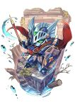 blue_eyes branch cape colored_sclera green_sclera gundam haguma_karasu holding holding_shield holding_sword holding_weapon knight_gundam looking_to_the_side mecha no_humans red_cape redesign sd_gundam sd_gundam_gaiden shield solo sword water weapon