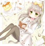 1girl absurdres animal_ear_fluff animal_ears book bow cat_ears cat_girl cat_tail clock cookie cup dress food fork green_eyes grey_legwear hair_bow hairband highres holding holding_book imagining knife light_brown_hair long_hair mike_mochi original pantyhose pencil sweets syrup tail teacup white_dress