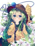 1girl bangs blouse blush bow brown_headwear collar eyebrows_visible_through_hair eyes_visible_through_hair fant floral_background flower frills green_collar green_eyes green_hair green_skirt hair_between_eyes hands_up hat hat_bow highres komeiji_koishi leaf long_hair long_sleeves looking_at_viewer open_mouth skirt sleeves_past_wrists solo touhou white_flower yellow_blouse yellow_bow yellow_sleeves