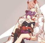 2girls ankleband arknights black_footwear black_gloves black_shirt black_wristband boots braid chinese_commentary colored_skin demon_horns dragon_horns fingerless_gloves gloves hands_together highres horns hug hug_from_behind infection_monitor_(arknights) jacket lava_(arknights) long_hair looking_at_viewer mabing multicolored_hair multiple_girls nian_(arknights) open_clothes open_jacket pointy_ears ponytail purple_hair red_bandeau red_skin redhead shirt short_hair_with_long_locks short_twintails smile socks solo streaked_hair thigh_tattoo tooth_necklace twintails violet_eyes white_footwear white_hair white_jacket yuri
