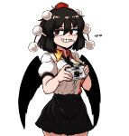 1girl black_hair black_skirt black_wings breasts brown_hair camera cigarette formicid hat holding holding_camera necktie pointy_ears pom_pom_(clothes) red_eyes shameimaru_aya shirt skirt smile solo tokin_hat touhou white_shirt wings