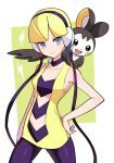 1girl bangs bare_arms blonde_hair blue_eyes blunt_bangs breasts cable choker closed_mouth collarbone commentary_request cowboy_shot elesa_(pokemon) emolga gen_5_pokemon gym_leader hand_on_hip headphones highres korean_commentary legs_apart on_shoulder pantyhose pokemon pokemon_(creature) pokemon_(game) pokemon_bw pokemon_on_shoulder purple_choker rnehrdyd1212 shiny shiny_hair short_hair sleeveless smile