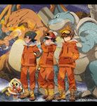 3boys ash_ketchum baseball_cap beanie black_hair blastoise blue_eyes boots breath brown_eyes brown_footwear brown_hair charizard claws closed_mouth clothed_pokemon coffee-break commentary_request expedition_uniform fire fur-trimmed_jacket fur_trim gary_oak gen_1_pokemon gen_8_pokemon gloves goggles goh_(pokemon) grookey hand_in_pocket hat highres holding holding_poke_ball jacket long_sleeves male_focus multiple_boys orange_jacket orange_pants pants poke_ball poke_ball_(basic) pokemon pokemon_(anime) pokemon_swsh_(anime) smile snowing spiky_hair standing starter_pokemon