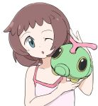 1girl bangs bare_arms brown_hair caterpie commentary_request eyelashes gen_1_pokemon grey_eyes hands_up head_tilt highres nagitaro on_shoulder one_eye_closed open_mouth pink_shirt pokemon pokemon_(anime) pokemon_(creature) pokemon_on_shoulder pokemon_sm_(anime) shirt simple_background sleeveless sleeveless_shirt tongue upper_body white_background