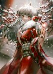 1girl animal_ears arknights bangs commentary_request eyebrows_visible_through_hair finn_zoey fireworks fox_ears frostleaf_(arknights) fur_trim headphones highres holding_sparkler japanese_clothes kimono long_hair looking_at_viewer red_eyes red_kimono silver_hair snow snowing solo sparkler yukata