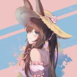 1girl amiya_(arknights) animal_ears arknights bangs bare_shoulders blue_eyes blush brown_hair caisena commentary_request hat long_hair looking_at_viewer off-shoulder_shirt off_shoulder partial_commentary pink_shirt puffy_short_sleeves puffy_sleeves rabbit_ears shirt short_sleeves smile solo sun_hat upper_body