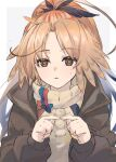 1girl arknights beige_sweater black_jacket bow commentary feather_hair fingers_together highres jacket konota_ko long_hair looking_at_viewer open_clothes open_jacket orange_eyes orange_hair pinecone_(arknights) ponytail solo upper_body