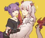 2girls arknights arm_tattoo black_gloves black_shirt blush cheek_pinching chinese_commentary colored_skin dragon_girl dragon_horns dragon_tail ear_piercing eyebrows_visible_through_hair fang fingerless_gloves gloves highres horns jacket lava_(arknights) looking_at_another looking_at_viewer mabing multicolored_hair multiple_girls nian_(arknights) notice_lines open_mouth piercing pinching pointy_ears ponytail purple_hair purple_skirt red_skin redhead shirt short_hair_with_long_locks short_twintails simple_background skirt streaked_hair sweatdrop tail tail-tip_fire tattoo tooth_necklace twintails upper_body violet_eyes white_hair white_jacket yellow_background