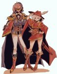 2girls armor belt beret blue_cape blue_mage boots cape crossed_arms faris_scherwiz feathers final_fantasy final_fantasy_v formal green_eyes hat hat_feather leather leather_boots lenna_charlotte_tycoon long_hair looking_at_viewer mask multiple_girls pauldrons pink_hair ponytail purple_hair red_cape red_mage saito_piyoko sheath sheathed short_hair shoulder_armor siblings simple_background sisters smile suit sword tied_hair weapon white_background
