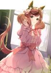 1girl animal_ears blush brown_eyes brown_hair commentary_request dress eyebrows_visible_through_hair highres horse_ears horse_girl horse_tail layered_sleeves long_hair long_sleeves multicolored_hair nice_nature_(umamusume) open_mouth pink_dress puffy_short_sleeves puffy_sleeves redhead short_over_long_sleeves short_sleeves solo streaked_hair tail twitter_username umamusume window yoshino_ryou