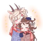 2girls animal_ears arknights blush brown_hair closed_eyes earthspirit_(arknights) eyjafjalla_(arknights) goat_ears goat_girl goat_horns headpat height_difference horns long_hair multiple_girls naoi_retsu platinum_blonde_hair red_scarf scarf shared_scarf winter_clothes