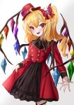 1girl :d absurdres ahoge alternate_costume alternate_headwear black_skirt blonde_hair blush cowboy_shot cross cross_earrings diudada earrings fangs fingernails flandre_scarlet flower gradient gradient_background grey_background hair_between_eyes hair_ornament hair_ribbon hat hat_flower heart heart_hair_ornament highres hoop_earrings jewelry layered_skirt leg_ribbon long_sleeves looking_at_viewer mini_hat mini_top_hat nail_polish one_side_up open_hand open_mouth pink_flower pink_rose pointy_ears red_eyes red_headwear red_nails red_skirt ribbon rose short_hair skirt skirt_hold smile solo standing symbol_commentary top_hat touhou tunic white_background wings