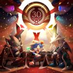 3boys anniversary cape chaos_emerald commentary_request confetti crown furry gem gloves green_eyes iiimirai jewelry male_focus multiple_boys red_cape red_eyes ring shadow_the_hedgehog shoes silver_the_hedgehog sitting sneakers sonic_(series) sonic_the_hedgehog sword throne weapon white_gloves yellow_eyes
