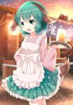 1girl alternate_costume animal_ears apron bangs beer_mug blurry blurry_background bow contrapposto cowboy_shot cup dog_ears eyebrows_visible_through_hair fang floral_print green_eyes green_hair green_skirt hand_on_hip highres holding holding_tray japanese_clothes karasuma_amiru kasodani_kyouko kimono light_particles long_sleeves looking_at_viewer maid mug open_mouth outdoors pink_kimono pink_nails pleated_skirt short_hair skin_fang skirt smile solo standing tail touhou tray wa_maid white_apron white_bow wide_sleeves wolf_ears wolf_tail