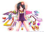 1gi black_hair flat_chest loli long_hair original satoyasu school_swimsuit swimsuit