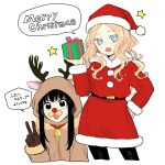 2girls absurdres animal_costume antlers black_eyes black_hair black_legwear blonde_hair blue_eyes brown_gloves commentary_request cropped_legs cropped_torso english_text fake_nose fang futari_escape gift gloves hand_up hat highres holding holding_gift kouhai_(futari_escape) long_hair long_sleeves merry_christmas multiple_girls official_art open_mouth pantyhose reindeer_antlers reindeer_costume santa_costume santa_hat senpai_(futari_escape) sidelocks simple_background speech_bubble star_(symbol) taguchi_shouichi translation_request v white_background