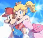 1boy 1girl ;d bare_arms blonde_hair blue_eyes blue_sky brown_hair dress english_commentary highres hug hug_from_behind mario mario_(series) one_eye_closed open_mouth outdoors pink_dress ponytail princess_peach red_headwear sky smile sun water ya_mari_6363