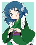 1girl :d bangs blue_eyes blue_hair border bright_pupils drill_locks eyebrows_visible_through_hair frilled_kimono frills green_background green_kimono head_fins ini_(inunabe00) japanese_clothes kimono long_sleeves looking_at_viewer open_mouth purple_sash sash short_hair simple_background smile solo touhou upper_body wakasagihime white_border white_pupils wide_sleeves