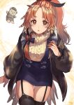1girl absurdres arknights beige_sweater black_jacket black_legwear blue_nails blue_skirt brown_eyes cowboy_shot feather_hair garter_straps hand_up highres jacket long_hair looking_at_viewer open_clothes open_jacket open_mouth orange_hair pinecone_(arknights) ponytail skirt solo tarako_jun thigh-highs